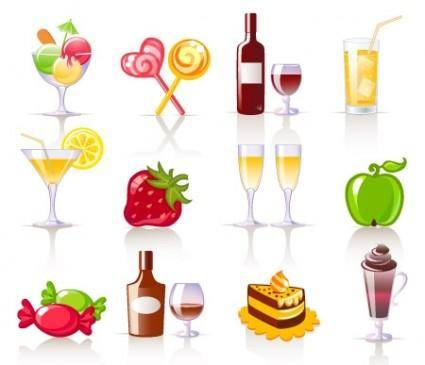 free vector Sweet Drinks and Fruit Vector Icons
