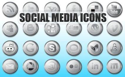 Social Media Icons Silver