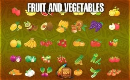 free vector Fruit Vegetables Icons