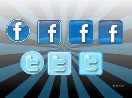 free vector Iconos Twitter & Facebook