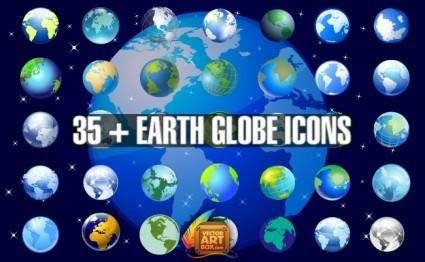 Earth Globe Icons Set