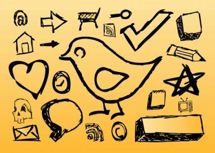 free vector Hand Drawn Icons