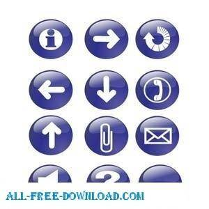 free vector Blue Glossy Icon Buttons
