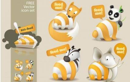 free vector Feed Me Animals: A Free RSS Feed Icon Set