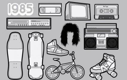 free vector 1985 ? A Free Vector Pack of 80s Icons