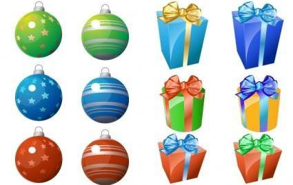 free vector CHRISTMAS ORNAMENT AND GIFT ICONS