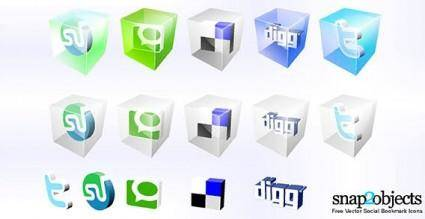 free vector Social bookmark icons