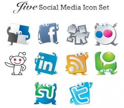 Jive social media vector icon set