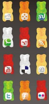 Gummy social icon set