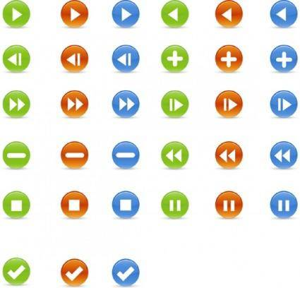 free vector Vector Glossy Buttons Icons