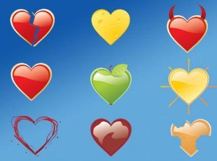 free vector 9 love icons packages