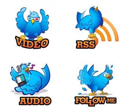 free vector Four Hand Drawn Twitter Icons
