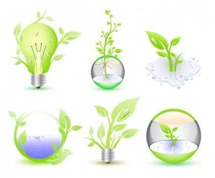 free vector Green Eco Icon Collection