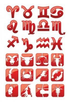 Glossy horoscope symbols