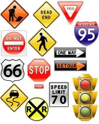 free vector Road signs  traffic light