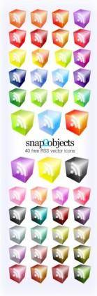 free vector RSS Icons Translucent 3D Look