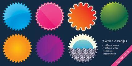 free vector Web 2.0 badges Red green orange