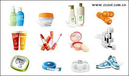 Sports equipment and women's cosmetics icon vector material