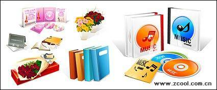 Books, such as CD-ROM icon vector material bouquets