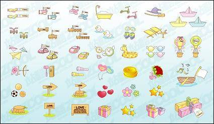 free vector Cute icon vector material goods-2