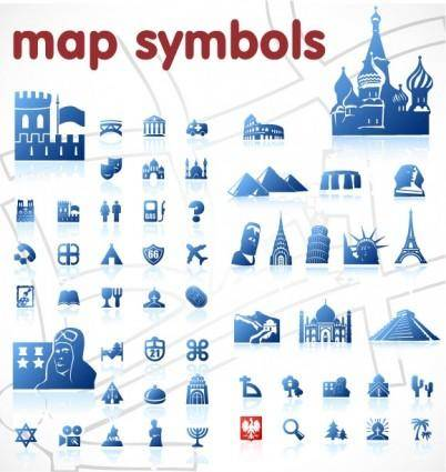 free vector Blue map symbol vector