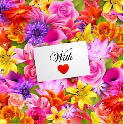 Valentine39s day flowers background 01 vector