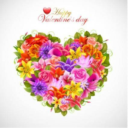 free vector Valentine39s day flowers background 02 vector