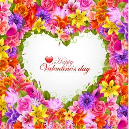 Valentine39s day flowers background 04 vector
