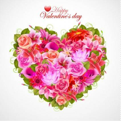 Valentine39s day flowers background 05 vector