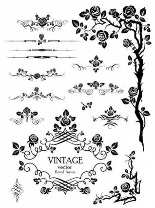 Flowers silhouette lace 03 vector