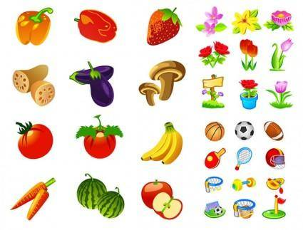 free vector Fruits and vegetables motor flower icon vector