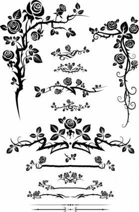 free vector Flowers silhouette lace 01 vector