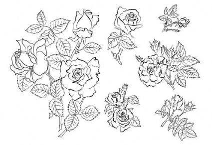 free vector Handpainted flowers 04 vector