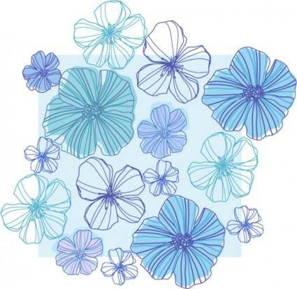Line drawing flowers vector