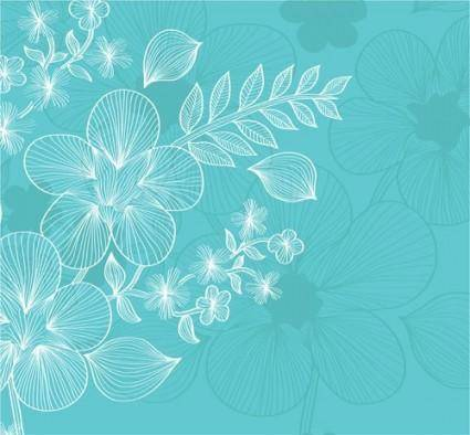 Lines flowers 03 vector
