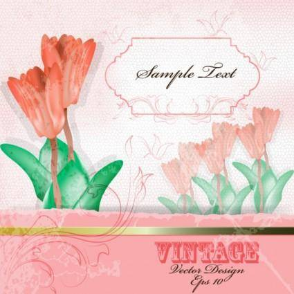 Warm flowers background 04 vector