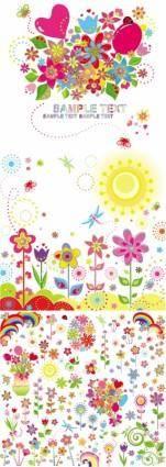 free vector Lovely flower children illustrator vector