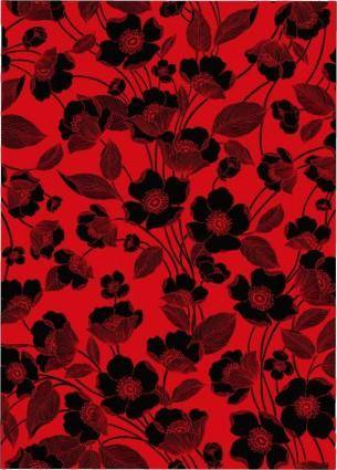 Flowers red and black background vector lines