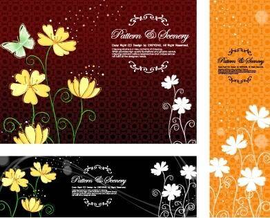 Butterfly flowers vector background classical pattern