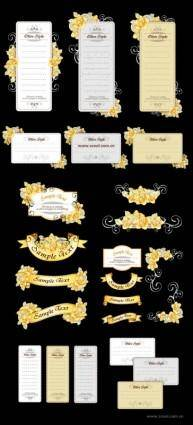 free vector Ribbon cards with handpainted flowers vector yellow