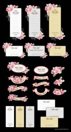 free vector Ribbon cards with handpainted flowers vector powder