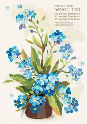 free vector Gouache flowers 05 vector