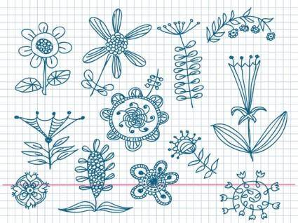 Cute little handpainted flowers vector