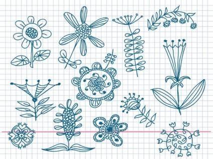free vector Cute little handpainted flowers vector