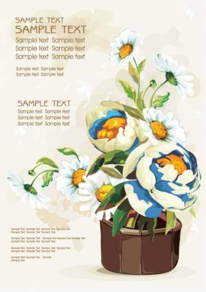 free vector Gouache flowers 03 vector
