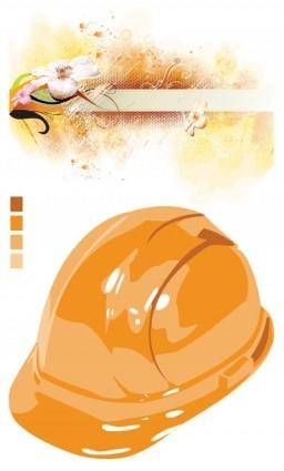 Safety helmets flowers vector outlets