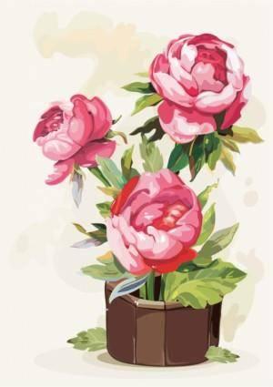 free vector Gouache flowers 01 vector