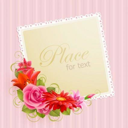 Flower greeting cards 03 vector