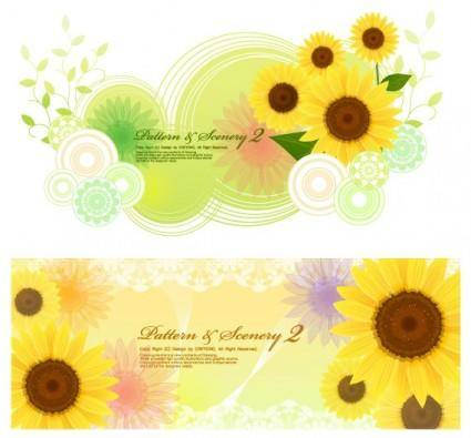 Sunflower and vector fantasy background