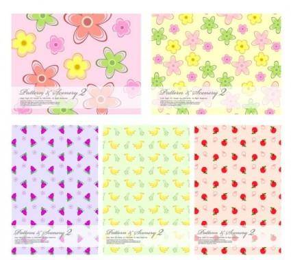 Lovely fruit and flowers vector background